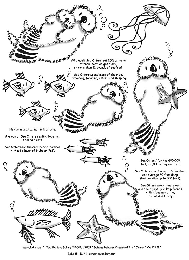 The Stylish Sea Otter Coloring Page Pertaining To Inspire Sea Otter Coloring Pages