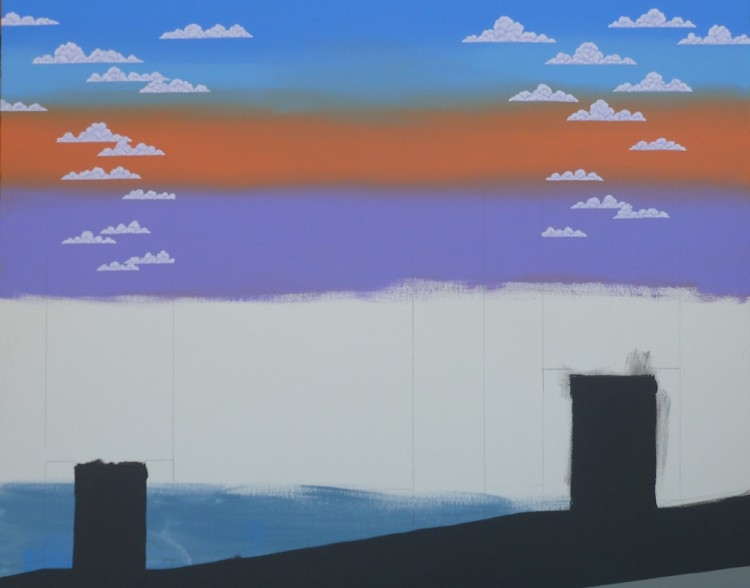 Here is the sky, after three re-dos. Then I was satisfied and ready for clouds.