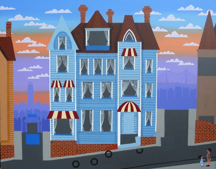 Then, the awnings, curtains and placing some of the vehicles. More layers of background too.