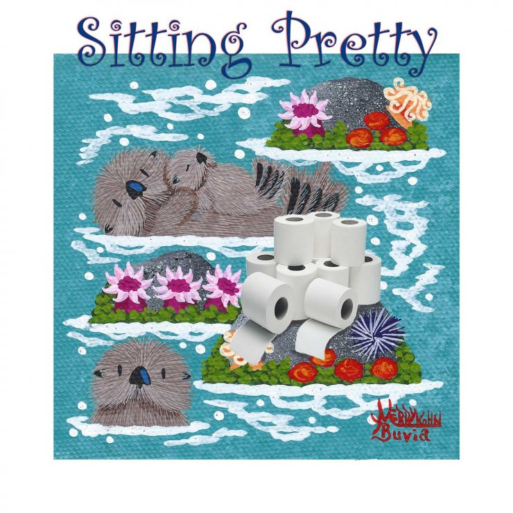 three little otters floating in a tidepool with a pile of 9 toilet paper rolls on a rock